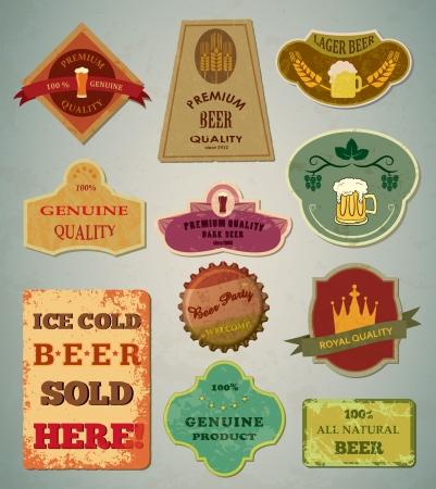 wheat beer: Old vintage beer labels Illustration