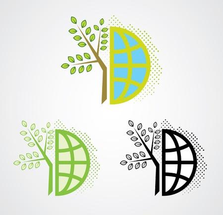 Go green logo design Vettoriali