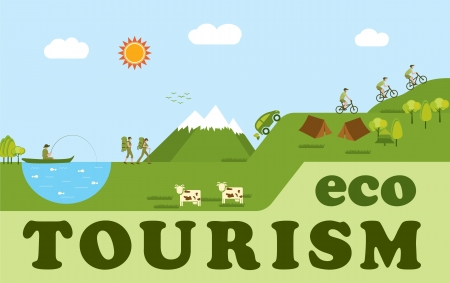 Eco tourism, people having fun outdoors Stock Vector - 17585393