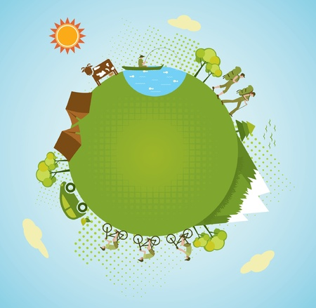 Eco tourism, green planet. Vector