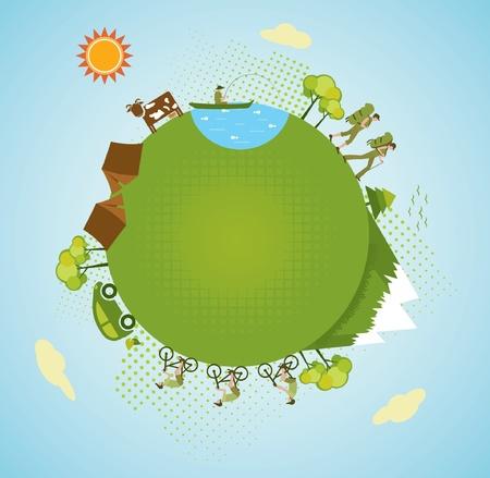 mundo contaminado: Eco turismo, planeta verde.