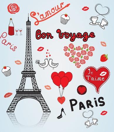 Paris- city of love and romance. Illustration