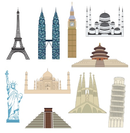 Set of travel icons  Most popular destinations  Illustration