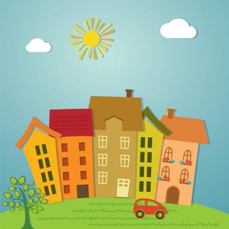 Colorful cartoon town design  Çizim