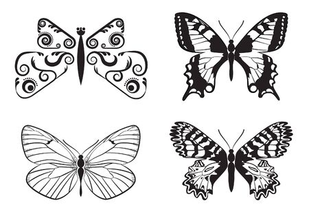 Set of monochrome butterflies