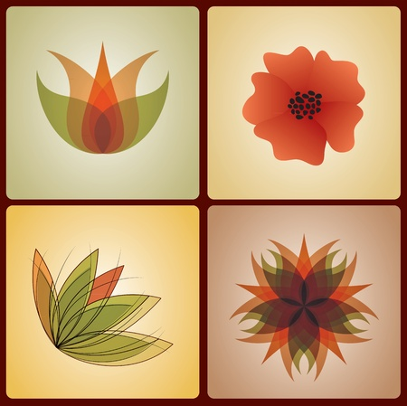 Set of 4 floral designs