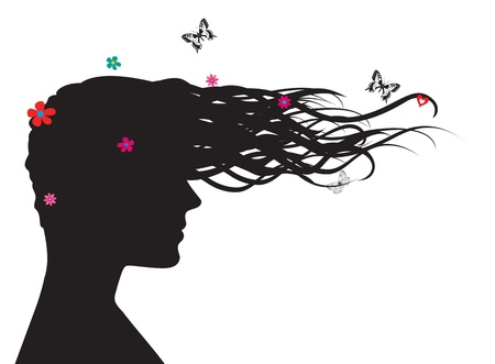Silhouette of woman with long har,flowers and butterflies