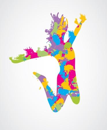 fitness dance: Jumping woman