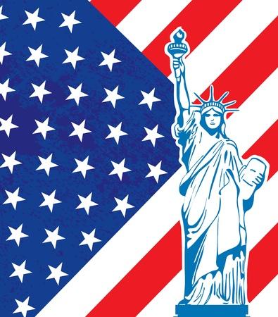 Liberty statue and American flag Çizim