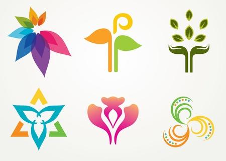 Abstract floral design set for designing