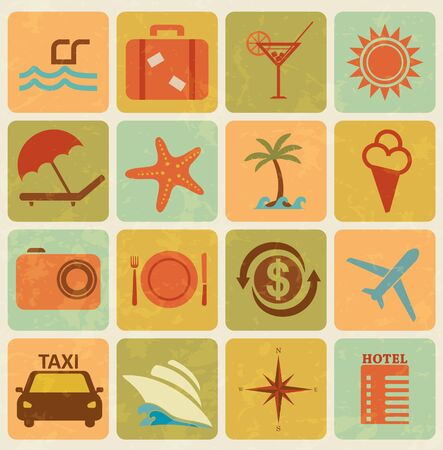 dinner cruise: Set of 16 retro travel and tourism icons Illustration