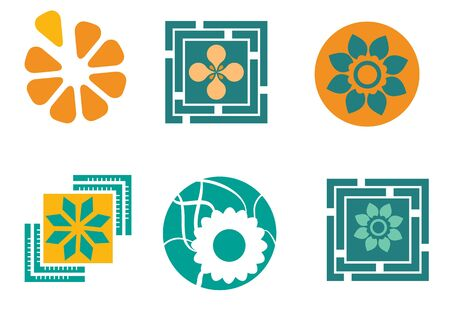 Set of six abstract floral designs Illustration