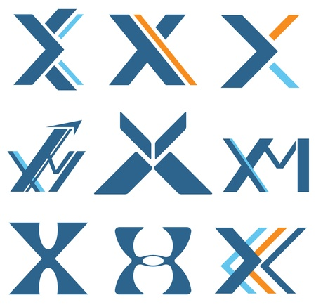 Different designs for letter X and M
