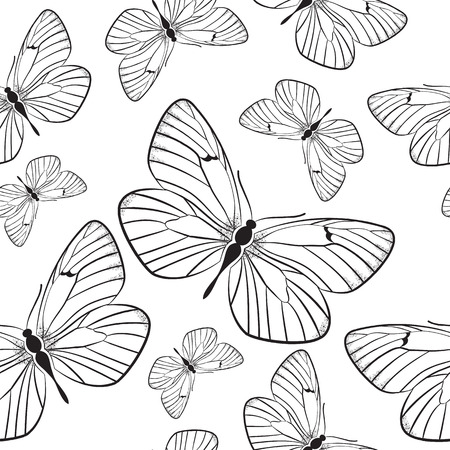 Seamless monochrome pattern with butterflies