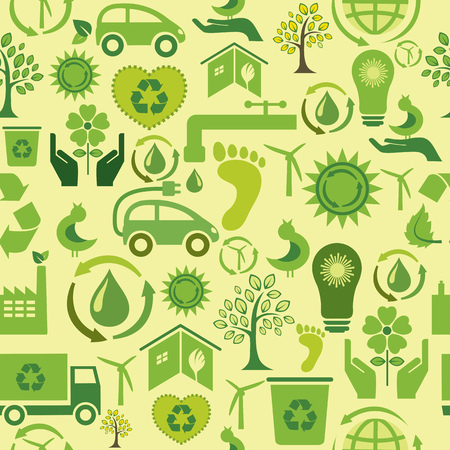 Seamless pattern with ecological icons