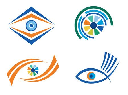 Set of four abstract eye designs for logo designing Illustration