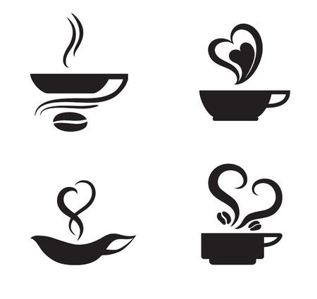 Set of four coffee love designs for logo designing Illustration