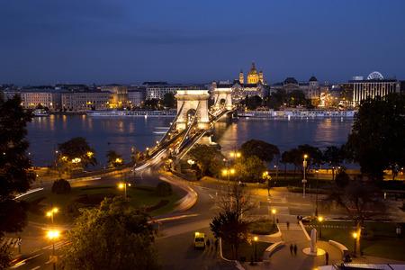 Night view of Budapest. Chain bridge.