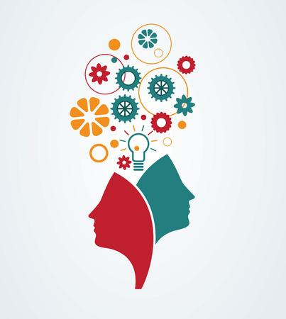 mente humana: Mente creativa. Concepto abstracto de la imaginaci�n, la creatividad, las ideas. Vectores