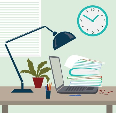 Illustration of work place, office desk, workstation in flat design.