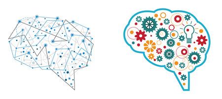 Brain illustration. Abstract design. Vettoriali