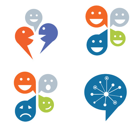 laugh emoticon: Four designs for social networking concept Illustration