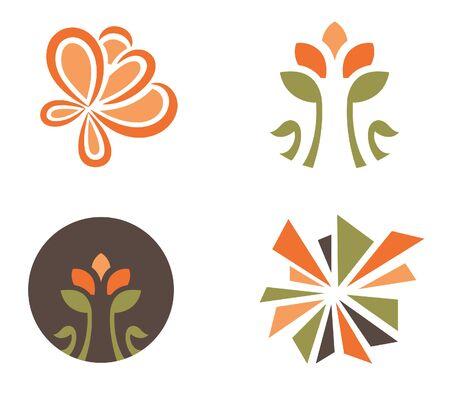 Set of four flower designs for logo designing