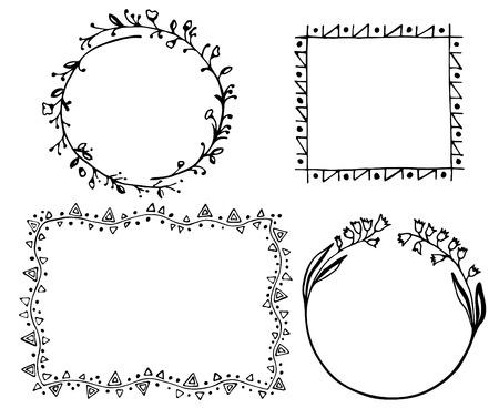 Doodle frames with floral details