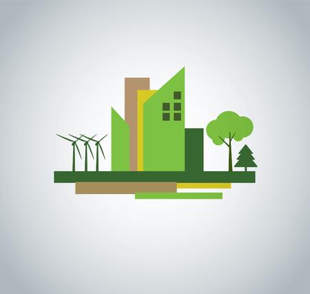 solarpower: Green city design icon sign