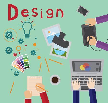 Design process, brainstorming, designers at work Illustration