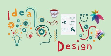Logo design process. Illustration