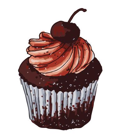 Cute chocolate cupcake with cherry decoration Vettoriali