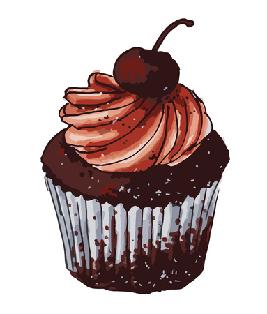 Cute chocolate cupcake with cherry decoration Illustration
