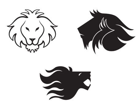 Lion head vector monochrome design