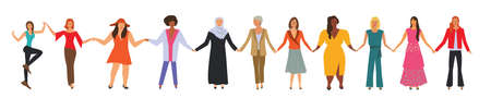 Happy women of different nationalities standing together and holding their hands. Flat cartoon characters isolated on white background.