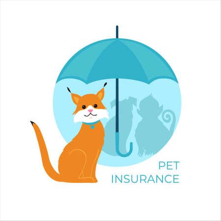 Cat under an umbrella. Pet and Animal insurance concept. Vector illustration. Stock Illustratie