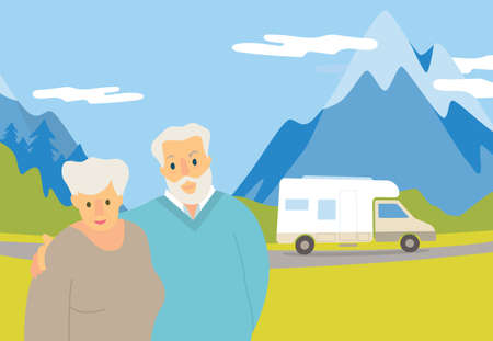 Vector illustration of an elderly couple. The concept of van life.