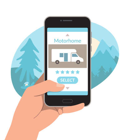 Phone in the hand of a man. Choosing and renting a camper via the Internet. Vector illustration, template. Illustration