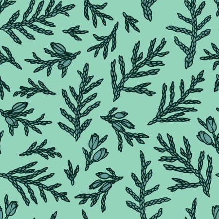Hand drawn seamless pattern. Hand drawn thuja branches.