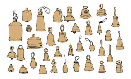 Collection with vintage bells on a white background. Hand drawn vector illustration.