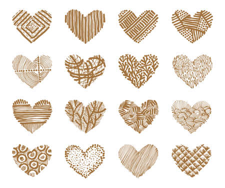 Hand drawn set with stylized hearts on a white background. Vector illustration.