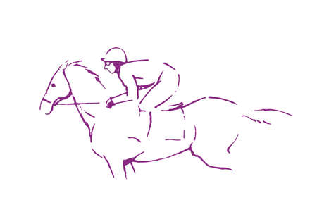 Horse race drawing on white background.