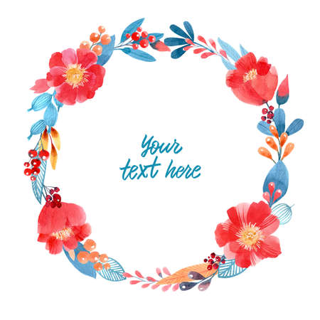 Decorative frame. Floral wreath. Watercolor flowers on white background, drawn by hand.