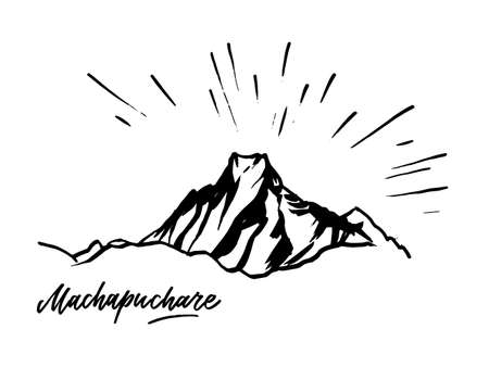 Machapuchare Fish Tale peak in the Himalayas, Nepal. Vector illustration on white background.