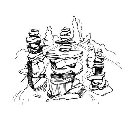 Cairn. Pile of stones on the river. Vector llustration on white background. Ilustrace