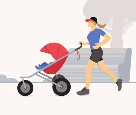 Woman jogging with stroller. Active mother jogging. Mother with child in stroller running. Vector illustration.