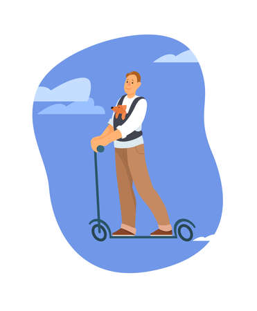 A man rides an electric scooter with a dog in a backpack. Vector illustration on white background.