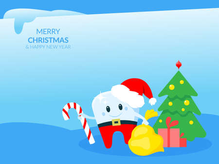 Template of a Christmas card with a tooth in a new year's hat. Editable vector illustration in bright vibrant colors. Иллюстрация