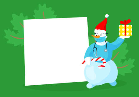 Christmas card template with snowman doctor. Editable vector illustration in bright vibrant colors. Иллюстрация