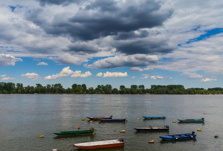 vue: Beautiful landscape near river Danube, boats